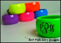 Monogrammed Neon Acrylic Bangle Bracelet by RedWithEnvyDesigns, $15.00