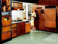 Vintage kitchens: is is weird that I love these kitchens? Retro Interior Design, Retro Design, 1960s House, 70s Decor, Kitchen And Bath Remodeling, Vintage Appliances, Vintage Kitchen, 1960s Kitchen, Retro Kitchens