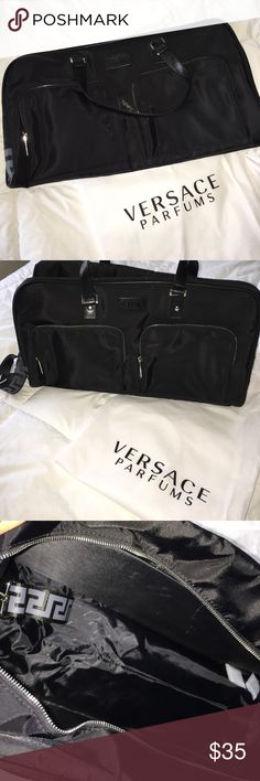 Versace Parfums Duffle Bag  I got this for a gift with cologne.  Never used.  Comes with dust bag shown in the pictures. Versace Bags Duffel Bags