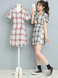 Korean Fashion Dress, Korean Dress, Ulzzang Fashion, Korean Street Fashion, Kpop Fashion Outfits, Girls Fashion Clothes, Edgy Outfits, Fashion Dresses, Matching Couple Outfits