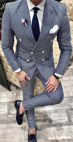 Mens tweed double breasted custom suit with a blue tie and white shirt and black shoes. Mens custom suits Long Island and Queens. Best Wedding Suits, Blue Suit Wedding, Formal Wedding, Wedding Attire, Tweed Wedding Suits, Mens Fashion Suits, Mens Suits, Groomsmen Fashion, Trendy Mens Fashion