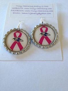 Baltimore Ravens Breast Cancer Awareness Themed Dangle Flat Bottle Cap Earrings