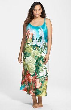 03f93025411f1 Natori  Birds of Paradise  Long Satin Nightgown (Plus Size). Rachel Estell  · Ashley Stewart