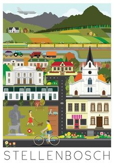 The most beautiful posters of Stellenbosch - hope they make some of Obs and Cape Town. A gorgeous place South African Wine, African Love, Pop Art, Out Of Africa, Travel Illustration, Beautiful Posters, Travel Images, Vintage Travel Posters, Art Design