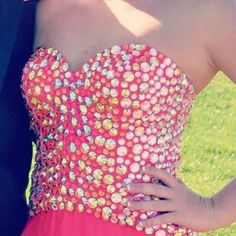 Prom dress. Size 4 but can fit bigger or smaller! Prom dress. Worn 1 time. Size 4, but can fit bigger or smaller because of corset back. Small rip at very bottom of the dress that's easily fixable. Will have dry cleaned before shipped. Will take reasonable offer. Dresses