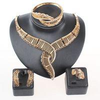 Beads africanos ouro fino cristal conjuntos de jóias para mulheres acessórios do casamento colar de pingente de declaração brinco anel pulseira