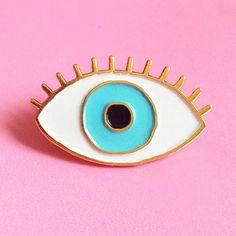 Glück BLUE Eye Emaille pin - Auge - böse Blick Sicherheitsnadel die - Augapfel-polig s - drittes Auge-Pins - Schmuck Spaß Kitsch Emaille-Brosche