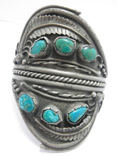 1920s NAVAJO PAWN sterling & TURQUOISE cuff Bracelet