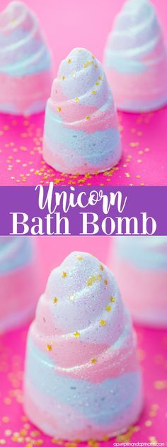DIY Unicorn Bath Bombs! Learn how to make a glitter unicorn horn bath bomb! Find the molds to make these here