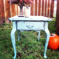 Shabby Chic end table in Duck Egg Blue. Distressed and sealed with dark & clear wax.