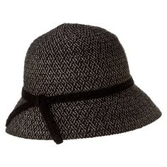 Black and grey cloche hat