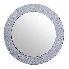Modern Round, Silver Frame, Mirror Wall Bathroom, Mosaic Glass, Ornate Wood Frames, Mirror Wall, Mirror Wall Bedroom, Large Vintage Mirror, Wall Decor Crafts