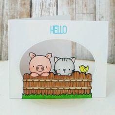MFT Hog Heaven; MFT Cool Cat; window scene; oval die; little bird; fence; hello; cute