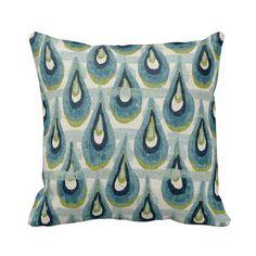 Zippered Aqua Teal Navy Kiwi Ivory Blue - Tear Drop - 14x14 16x16 18x18 20x20 - Pillow Case Cushion Cover Decor - Premier Prints Chloe Birch...
