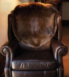 Fur Chair Covers   Custom Fur Chair Cover Throws   Adirondack Beaver  Blankets