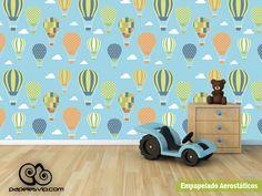 Empapelado infantil de pared Aerostaticos, #empapelado #papelesvip #decoracion #homedecor #deco #revestimiento #infantil #aerostaticos #lavables #vinilizados www.papelesvip.com