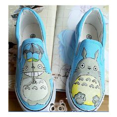 My Neighbor Totoro Custom Hand Painted Canvas Shoes #1 ($40) ❤ liked on Polyvore featuring shoes, patterned shoes, canvas shoes and print shoes