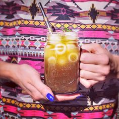 Lemonade with Yerba mate in a jar jug with bombilla on aztec pattern design - very refreshing !
