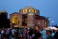 Holy Trinity Greek Orthodox Church at dusk @indygreekfest in Carmel Indiana.
