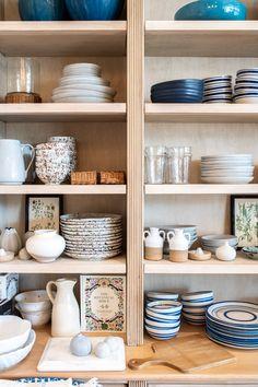 Decor Destination: Amy Berry Home Kitchen Shelf Decor, Boho Kitchen, Kitchen Design, Farmhouse Pottery, Aesthetic Room Decor, Blue And White Vase, Home Organization, Organizing, House Rooms