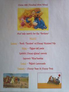 Disney Family Movie Night Menu - Winnie the Pooh