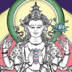 Bodhisattva of Compassion | | Chenrezig Thangka Painting | Buddha of Compassion | Bodhisattva ...