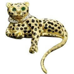 Bold And Daring Yet Classic Designs From An International AwardWinning Designer Timeless And VibrantNbsp The Gold Cheetah Has Two Emerald Eyes And 18k Gold Jewelry, Cat Jewelry, Skeleton Clock, Gold Brooches, Gold Accents, Cheetah, Jewels, Diamond, Jungle Life