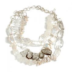 """Amanda Sterett Farrow Necklace - Chunky necklace with druzy, pearl, clear quartz and rough quartz. Sterling silver chain. 24""""l."""