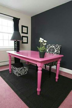 Cute and simple office Pink Table!