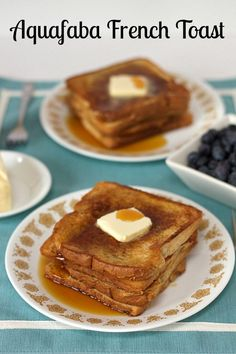 Vegan Aquafaba French Toast. Made with aquafaba / chickpea brine / water. Super easy and minimal ingredients.