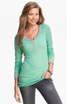 Rubbish® Contrast Trim Henley (Juniors) available at Nordstrom in Red - Fiery