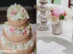 Flowers on cake and table arrangement by Soiree Floral #blush and #white #wedding by Zofia & Co. Photography