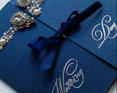 "Navy Pearlescent Square Gate Fold Wedding Invitation ""Lottice"" Bespoke Hand Made"