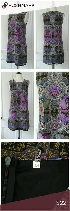 Sleeveless Dress Purple Multi Color Pattern NWOT Sleeveless dress with multi-color pattern in purples, blue, black, white, and gray. Zips in back. NWOT. No Tag Dresses