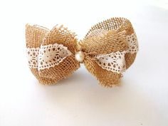 Burlap and Lace Hair Clip - Farmhouse Rustic Inspired Bow. $8.50, via Etsy.