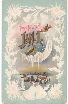 Beautiful, unusual 1914 vintage New Year postcard - birds visit the moon, which is covered with snow and ice. Vintage Happy New Year, Happy New Year Images, Happy New Year Cards, New Year Greeting Cards, New Year Wishes, Happy New Year 2019, New Year Greetings, Vintage Greeting Cards, Vintage Postcards