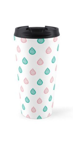 """""""Turquoise blue and coral pink raindrops"""" Travel Mug by Savousepate on Redbubble #travelmug #pattern #abstract #watercolor #pastel #white #pink #coral #peach #blue #green #turquoise #aqua"""