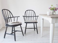 Not quite black and a little different to the norm, these hoop-back chairs look seriously nice when mixed up with other natural, neutral chairs.