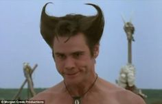 Like a glove: Carrey rocked Wolverine's hairstyle as Ace Ventura way before Hugh Jackman w. Ace Ventura Memes, Jim Carey, Laughter The Best Medicine, Hugh Jackman, Comic Book Heroes, Wolverine, Best Funny Pictures, Meet You, Racing