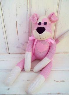 Sock Monkey Doll Puppy Dog in Pink by SockMonkeyBizz on Etsy, $36.50