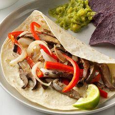 Portobello Fajitas Recipe -I serve portobello fajitas family-style so guests can build their own. Just pass the tortillas and garnishes like salsa, cheese, guacamole and sour cream. —Carolyn Butterfield, Lake Stevens, Washington
