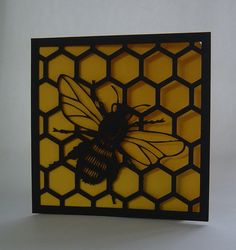 Paper cut  Honey bee and comb Silhouette by ParadisePapercraft