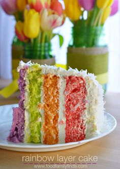 Rainbow Layer Cake for Spring made with JELLO.