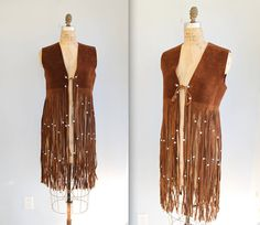 I don't know why but I love this! suede fringe vest. 1960s - 1970s boho hippie. Ultra long fringe ...