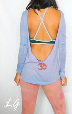 Om Open Back Yoga Long Sleeve T (periwinkle) by LycheeGrove on Etsy https://www.etsy.com/listing/84876785/om-open-back-yoga-long-sleeve-t