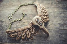 Statement necklace bib necklace raven scull necklace gothic necklace feather gold beige necklace labradorite necklace polymer clay necklace