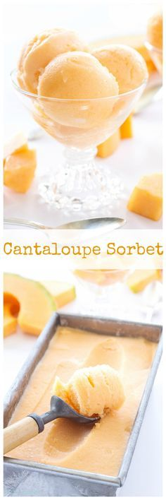 Cantaloupe Sorbet | 4 ingredients are all you need to make this delicious bowl of Cantaloupe Sorbet!