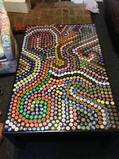 Awesome bottle cap table!