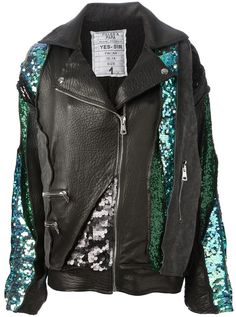 Black and turquoise cotton and leather jacket from Filles A Papa featuring a front zip fastening, side zipped pockets, a round pleat at the back and sequinned panels.