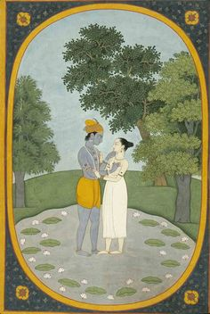 Krishna and Radha in a Lotus Pond. Opaque watercolor on paper, Guler, Kangra District, Himachal Pradesh, ca. 1790, Varanasi (Banaras), Banaras Hindu University, Bharat Kala Bhavan
